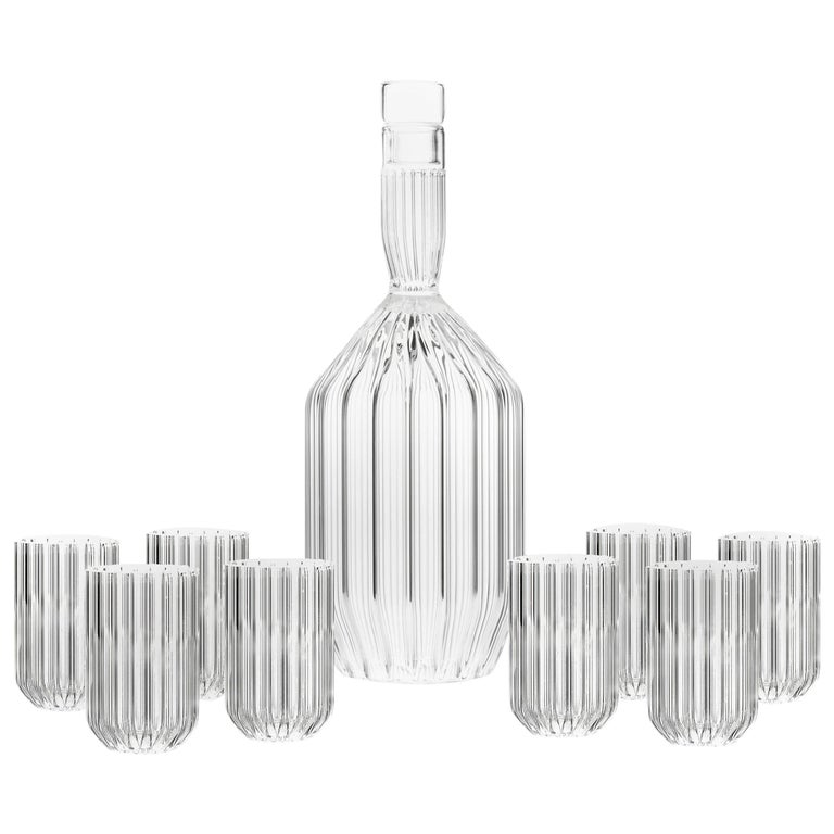 Fferrone Decanter and Eight Dearborn Mini Glass Set, Czech Republic - In Stock