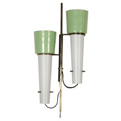 Wall Lamp Metal Brass and Glass Vintage Manufactured in Italy, 1950s-1960s