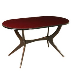 Table Stained Ebony Retro Treated Glass Vintage Top, Italy, 1950s-1960s