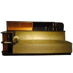 Art Deco Great Gatsby Sofa Corner with Integrated Bar and Bookcase