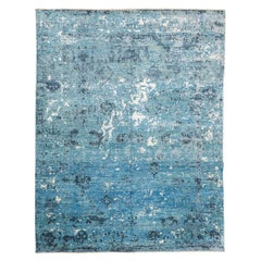 Contemporary Design Carpet in Green and Blue Tones
