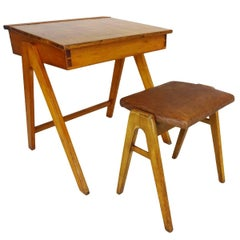 1950s Robin Day for Hille Art Student Desk and Accompanying Stool