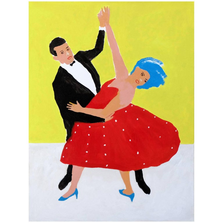 'The Enthusiasts' Portrait Painting by Alan Fears Pop Art Dancing For Sale