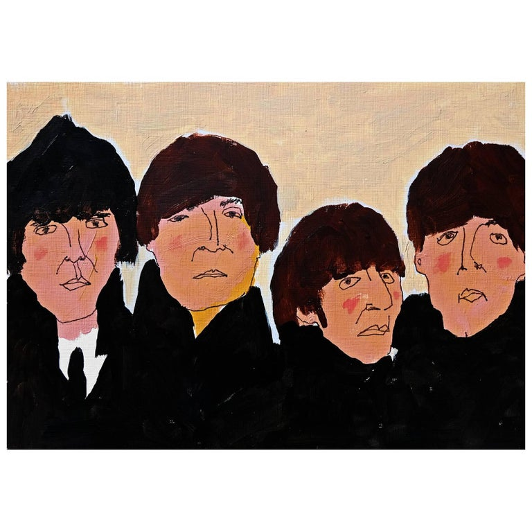 'Beatles for Sale' Portrait Painting by Alan Fears Acrylic on Paper Album Cover For Sale