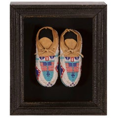 Native American Child's Moccasins with Flag Imagery
