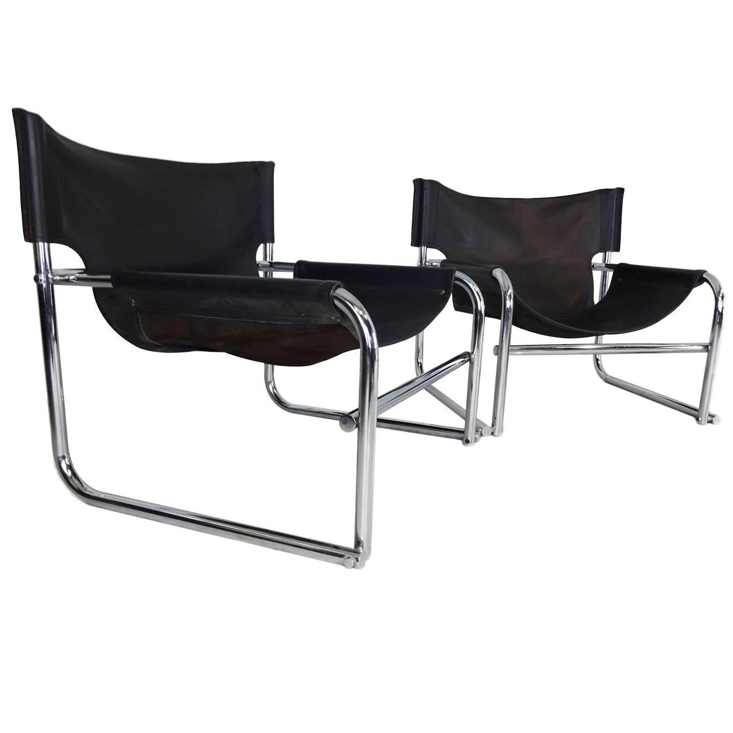 Pair Tubular Chrome Sling Chairs by Duncan Burke and Gunter Eberle