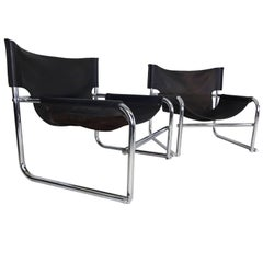 Pair of Rodney Kinsman Omk T1 Midcentury Leather and Chrome Sling Chairs