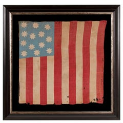 Hand-Sewn, 13 Star American National Flag with 8-Pointed Stars on Glazed Cotton