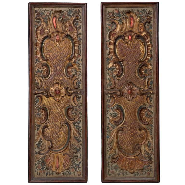 Pair of Italian Early 19th Century Baroque St. Carved Decorative Panels
