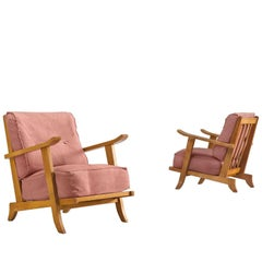 French Pair of Solid Oak Lounge Chairs