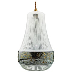 Midcentury Pendant Light Decorative Glass French Ceiling Light, circa 1960s