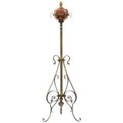 Floor Lamp Arts & Crafts Standard Light Telescopic Adjustable Copper Iron c1910