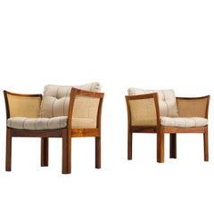 Illum Wikkelsø Pair of Chairs in Rosewood and Cane