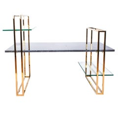 Modern Marble and Glass Attached Coffee Table with Copper or Chrome Structure