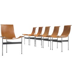 Set of Six Katavolos, Kelly and Littell T-Chairs in Original Cognac Leather
