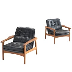 Danish Pair of Original Black Leather Teak Lounge Chairs