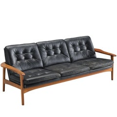 Danish Sofa in Original Black Leather and Teak