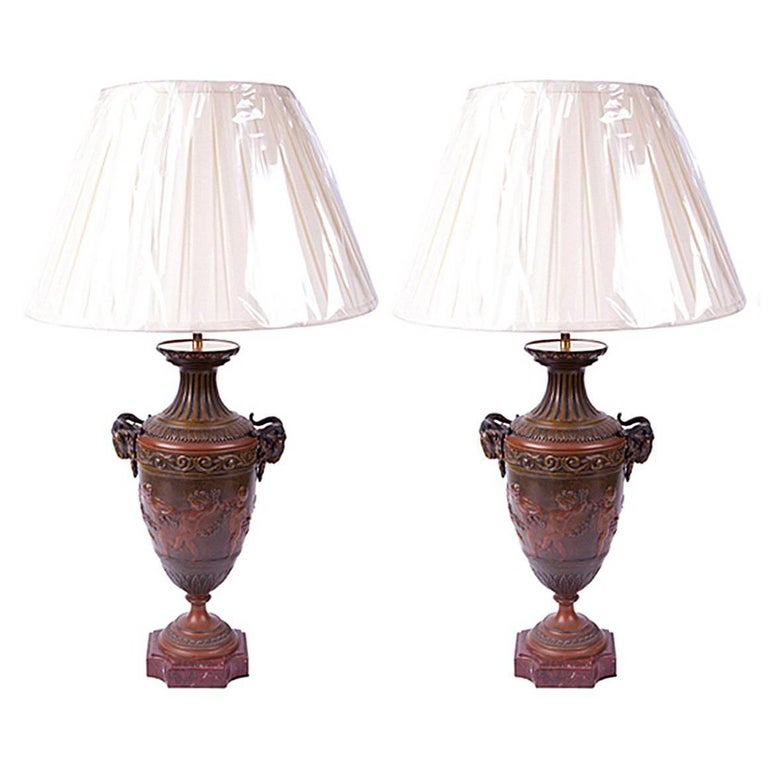 Pair of Early 19th Century French Empire Neoclassical Bronze Urns Wired as Lamps
