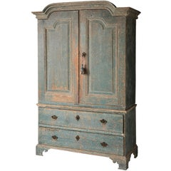 Swedish Rococo Period Linen Press or Cupboard with Two Drawers, circa 1760