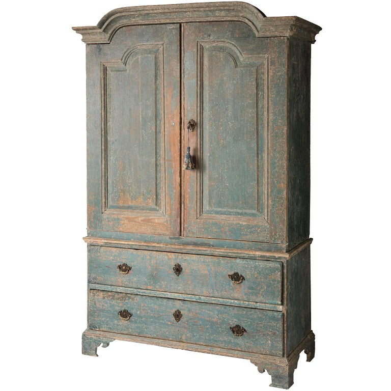 Swedish Rococo Period Linen Press or Cupboard with Two Drawers, circa 1760 For Sale