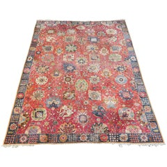 Antique European Hooked Carpet with Big Shah Abbas Design, 1920