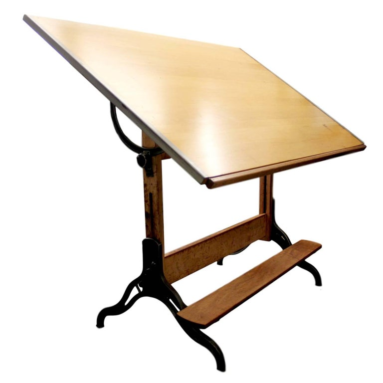 Vintage 1940s Industrial Maple And Iron Drafting Table