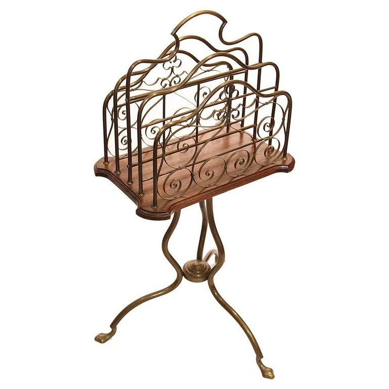 19th century brass sheet music stand with mahogany shelf for sale at 1stdibs. Black Bedroom Furniture Sets. Home Design Ideas