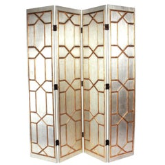 Glamorous Silver and Gold Gilt Folding Screen