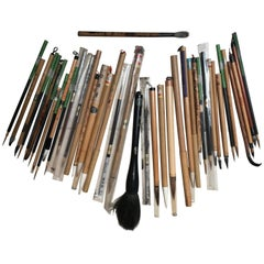 Artisan's Cache of 27 Old China Paint Calligraphy Bamboo Brushes