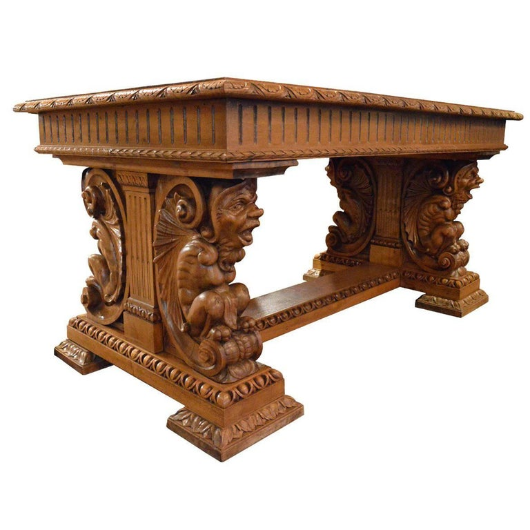 Antique Gothic Style Hand Carved Walnut Table Or Desk For Sale At