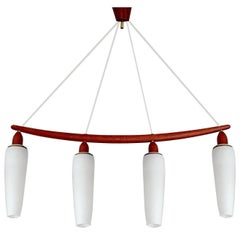 Large  MidCentury Danish Modern Luxus Chandelier Pendant,  Teak Glass