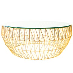 Sleek, Wire, Round Coffee Table Base by Bend Goods