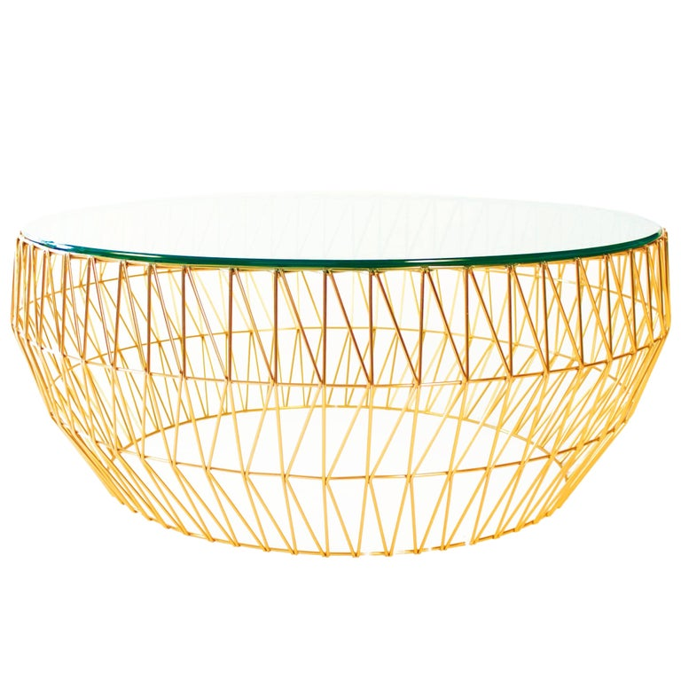 Sleek wire round coffee table base by bend goods for for Wire round coffee table