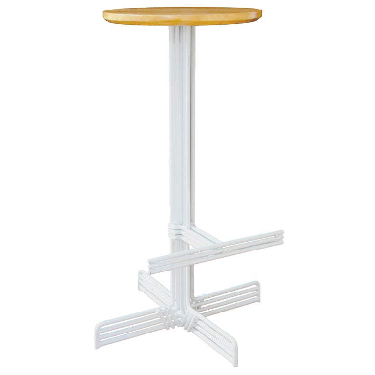 Modern, Minimalist, Wire Stick Bar Stool with Wooden Seat by Bend Goods