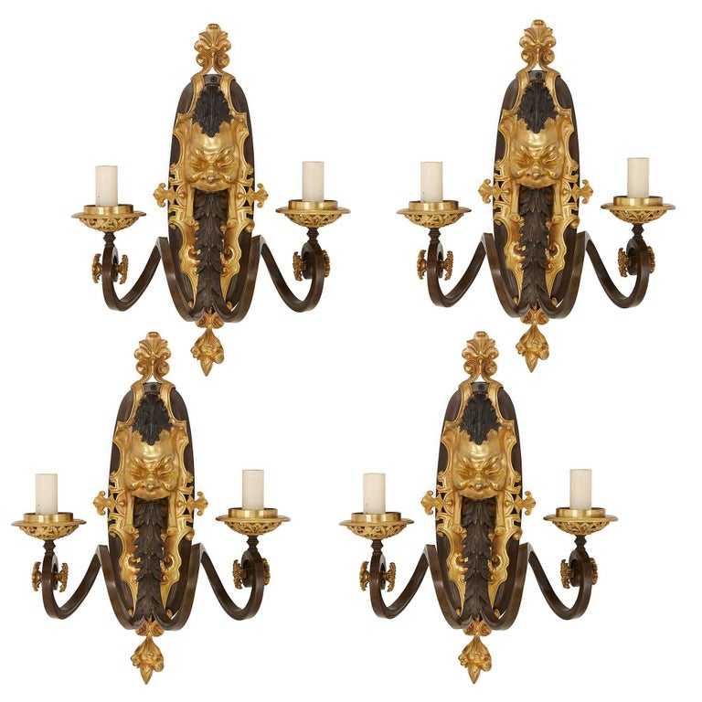 Set of Four Ormolu and Patinated Bronze Antique Wall Lights For Sale