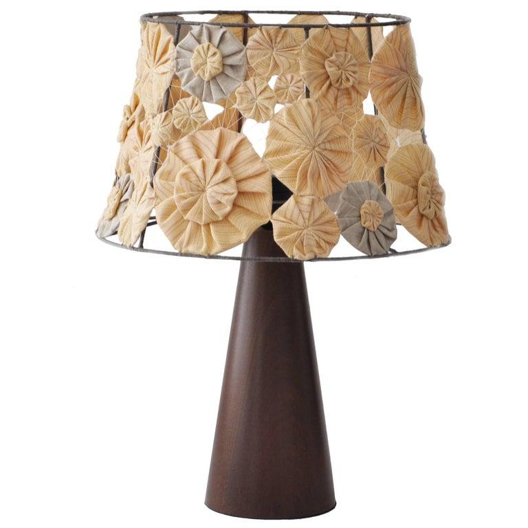 Wood Ipezinho Table Lamp with Yoyo Shade by Brazilian Yankatu For Sale