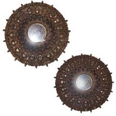 Pair of Carved Giltwood Sunburst Mirrors. Sold individually