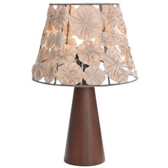 'Ipe' Table Lamp in Wood with Yoyo Shade, Brazilian Contemporary Design