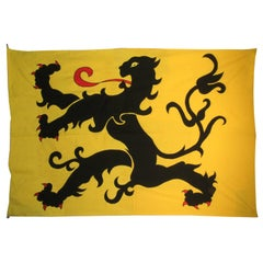 Massive Joseph Waelkens Embroidered Applique Flag of Flanders