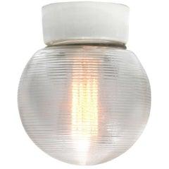 Five German Porcelain Vintage Industrial Halophane Glass Wall Lamp Sconces