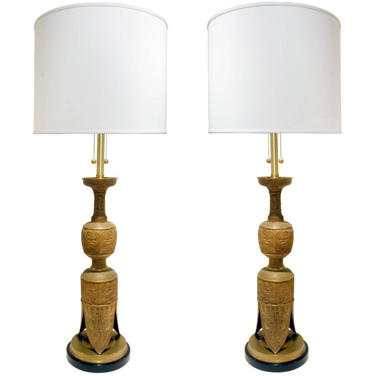 Pair of Impressive Egyptian Style Brass Table Lamps, 1960s For Sale
