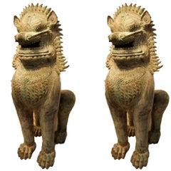 Pair of Monumental Asian Bronze Foo Dogs