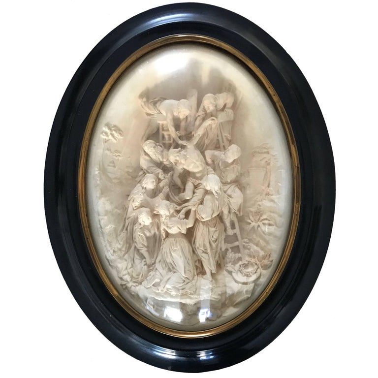 Hand-Carved Antique Plaque Sculpture Behind Glass Jesus Descent from the Cross