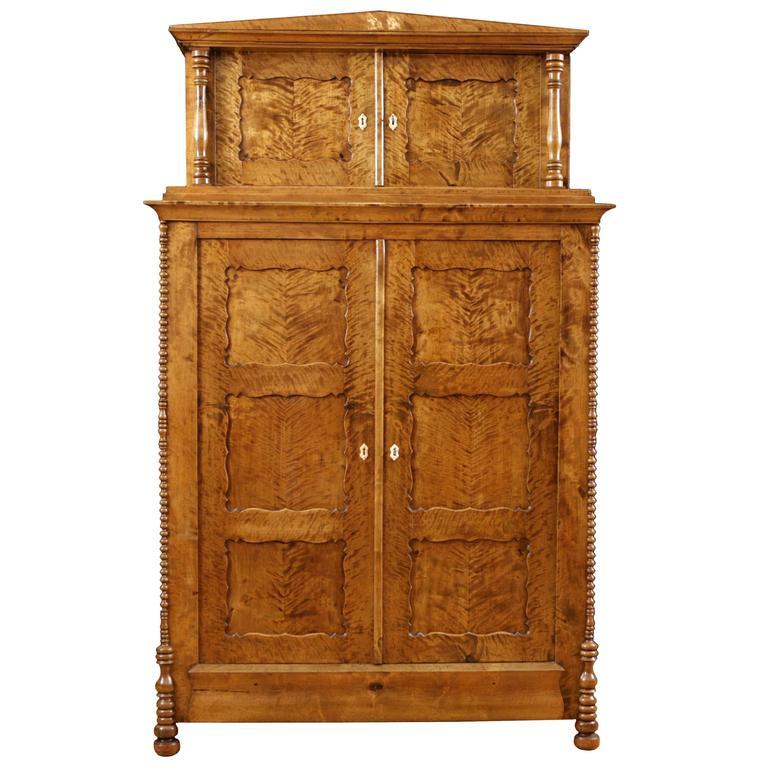 Antique North German Biedermeier Cabinet in Fire Birch, circa 1835 ...