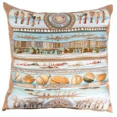 Silk Hermes Pillow in Tan