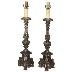 19th Century Alter Candle Lamps