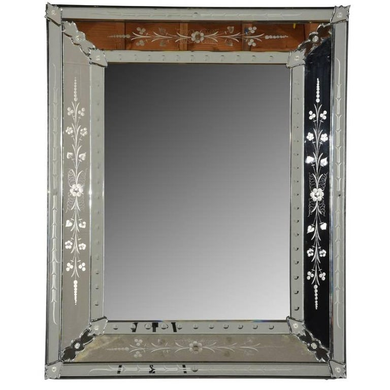 Italian Venetian-Style Etched Mirror