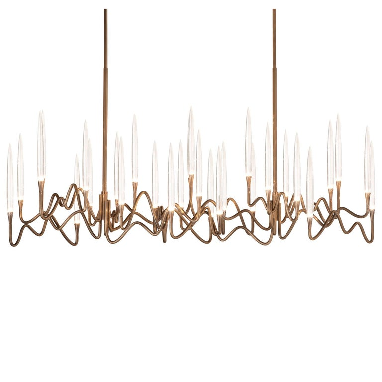 """Il Pezzo 3 Long Chandelier"" LED lamp in light bronze finish and crystal"