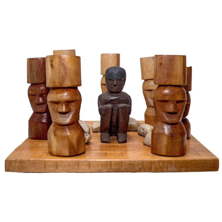 "Mestre Fida's ""Ilha De Páscoa"" Wood and Stone Easter Island"
