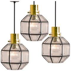 Set of Three Iron and Clear Glass Light Pedants by Limburg, circa 1965